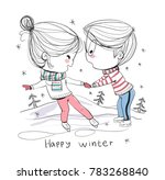 boy and girl at ice skating.... | Shutterstock .eps vector #783268840