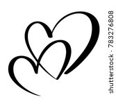 two lovers heart. handmade ... | Shutterstock . vector #783276808