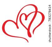 two red lovers heart. handmade  ...   Shutterstock . vector #783278614
