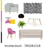 vector interior design... | Shutterstock .eps vector #783281218