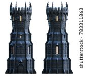 Dark Wizard Tower At Night. 3d...