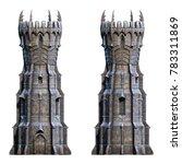 dark wizard tower on white. 3d... | Shutterstock . vector #783311869