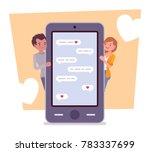 love in messenger. young happy... | Shutterstock .eps vector #783337699