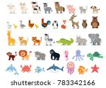 Cute animals collection: farm animals, wild animals, marina animals isolated on white background. Vector illustration design template