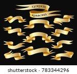 set of golden ribbon isolated... | Shutterstock .eps vector #783344296