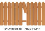 gap in the fence   wooden... | Shutterstock .eps vector #783344344