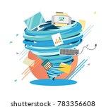 crazy work life swirl  mad... | Shutterstock .eps vector #783356608