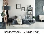 vase on metal table and grey... | Shutterstock . vector #783358234