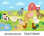 farm animals with landscape  ... | Shutterstock . vector #783370840