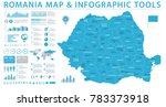 Romania Map - Detailed Info Graphic Vector Illustration