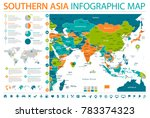 southern asia map   detailed... | Shutterstock .eps vector #783374323
