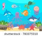 sea life  marine animals set... | Shutterstock . vector #783375310