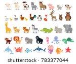 Stock photo cute animals collection farm animals wild animals marina animals isolated on white background 783377044