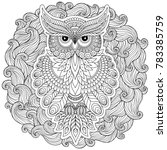lovely owl coloring page design ... | Shutterstock . vector #783385759