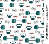 dumbbells  weight and barbell... | Shutterstock .eps vector #783391294
