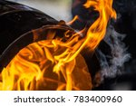 Fire Burning In A Wooden Barrel