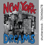 hand drawn new york city with... | Shutterstock .eps vector #783406678