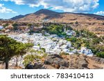 colorful view of lindos village ... | Shutterstock . vector #783410413