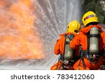firefighter are using water in... | Shutterstock . vector #783412060