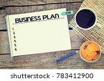 business plan 2018   notebook...   Shutterstock . vector #783412900