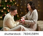 happy couple give gifts in... | Shutterstock . vector #783415894