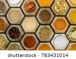 colorful herbs and spices in... | Shutterstock . vector #783431014