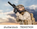 modern soldier with rifle | Shutterstock . vector #783437434