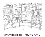 sketch of moscow yard in... | Shutterstock .eps vector #783437740