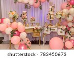 birthday decoration with cake... | Shutterstock . vector #783450673