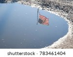 reflection of the american flag