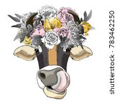 vector cow with bow and wreath. ...   Shutterstock .eps vector #783462250