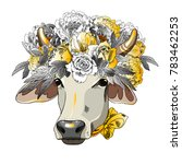 vector cow with bow and wreath. ... | Shutterstock .eps vector #783462253