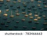 Sailboats Moored On Lake...