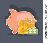 piggy bank and money tower.... | Shutterstock .eps vector #783486259