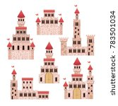 set of pink castles of fairy... | Shutterstock .eps vector #783501034