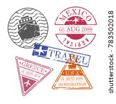 ship and airplane travel stamps ... | Shutterstock .eps vector #783502018