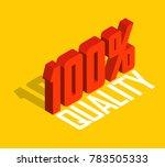 100  percent  3d  isometric... | Shutterstock .eps vector #783505333