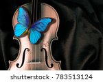 butterfly morpho on a violin | Shutterstock . vector #783513124