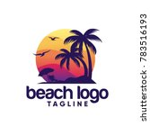 beach logo design vector | Shutterstock .eps vector #783516193