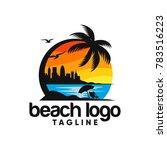 beach logo design vector | Shutterstock .eps vector #783516223