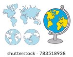 world map and globe isolated   Shutterstock .eps vector #783518938