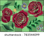 vector set of flowers on a... | Shutterstock .eps vector #783544099