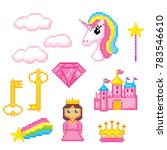 magic unicorn rainbow icons... | Shutterstock .eps vector #783546610