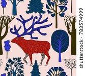 deer in winter forest ... | Shutterstock .eps vector #783574999
