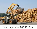 Small photo of Wheel loader loading timber in saw mill.
