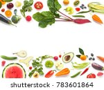 various vegetables and fruits... | Shutterstock . vector #783601864
