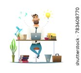 surprised bearded businessman... | Shutterstock .eps vector #783608770