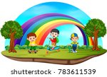 children playing in the park on ... | Shutterstock . vector #783611539