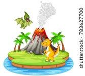 vector illustration of dinosaur ... | Shutterstock .eps vector #783627700