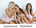 beautiful girls at home party... | Shutterstock . vector #783634324